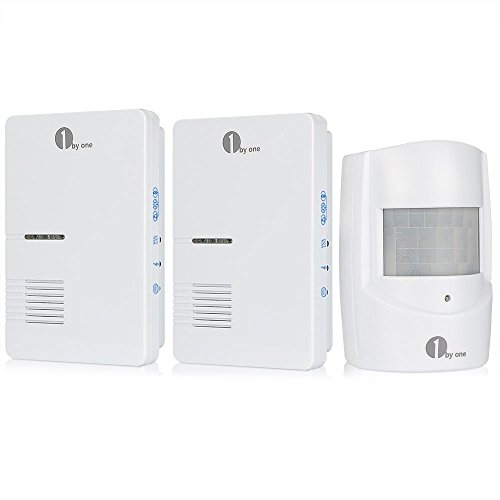 1byone Wireless Driveway Alert, Infrared Motion Sensor with 2 Plug-in Receivers and 1 Sensor