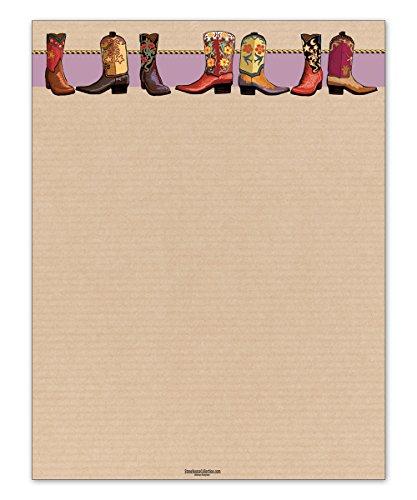 Western Cowboy Boots Stationery - 8.5 x 11-60 Western Letterhead Sheets - Western Theme Letterhead