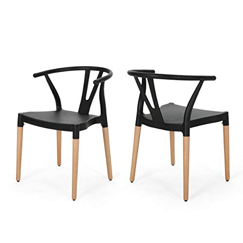 Christopher Knight Home 308951 Victoria Modern Dining Chair with Beech Wood Legs (Set of 2), Black and Natural Finish, ()