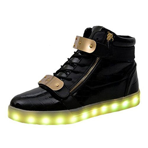 (Present:small towel)JUNGLEST® Women Men USB Charging LED Light Up Shoes Fl Patent Leather High Top White aOelsIYr