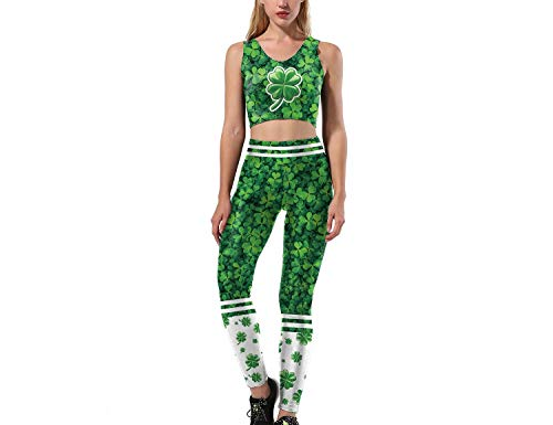 Mosszra Four Leaf Clover Lucky Clover Fans Team Cheerleader Crop Top & Pant Set