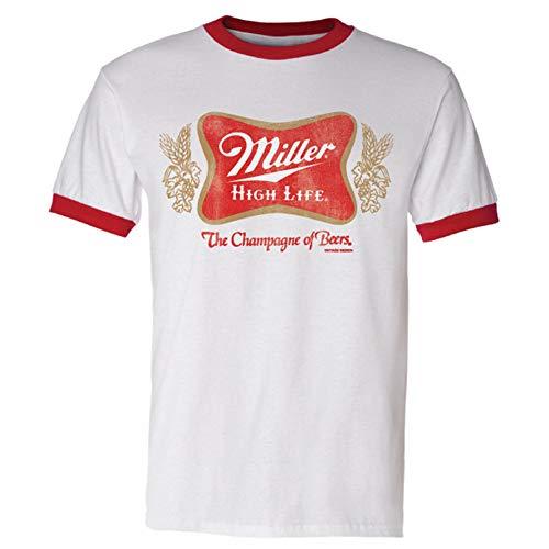- Brew City Beer Gear Miller High Life Vintage Soft Cross Ringer Short Sleeve T-Shirt-White/Red-XXXL
