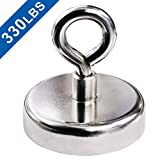Super Strong Neodymium Fishing Magnets, 330 lbs(150 KG) Pulling Force Rare Earth Magnet with Countersunk Hole Eyebolt Diameter 2.36 inch(60 mm) for Retrieving in River and Magnetic Fishing