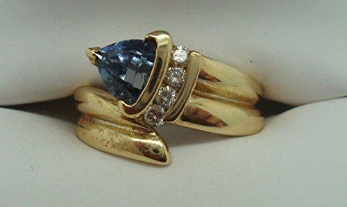 14K Gold Trillion Shape Compatible for Genuine Natural Tanzanite Ring with Diamonds (#897)