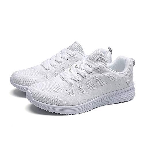 Aptitud Para Sneakers Ligero Deportivos De Mujer Calzado Zapatillas Malla Con Plataforma Correr Fitness Blanco Transpirable Cordones H6p1qt14xw