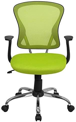 Flash Furniture Mid-Back Green Mesh Swivel Task Office Chair with Chrome Base and Arms – H-8369F-GN-GG