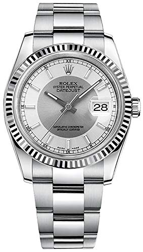 - Rolex Oyster Prepetual 36 Automatic Silver Rhodium Dial Mens 18kt White Gold Ladies Watch 116234SRSO