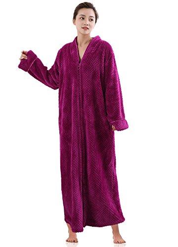 Women's Zip Front Bathrobe Soft Warm Long Fleece Plush Robe Plus Size Fluffy Housecoat Sleepwear Dressing Gown Rose Red