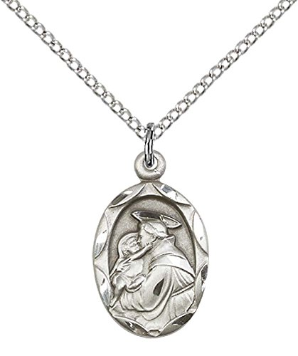 (Sterling Silver St. Anthony of Padua Pendant with 18