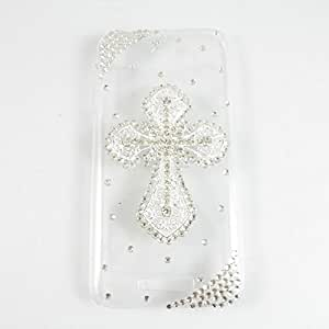 bling 3D case peacock diamond crystal hard back cover for HTC DESIRE 510 (cross silver)