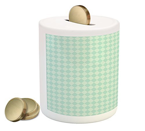 Lunarable Argyle Piggy Bank, Soft Toned Pastel Diamond Shapes with Old Fashioned Vintage Argyle Motif, Printed Ceramic Coin Bank Money Box for Cash Saving, Mint Green and Seafoam