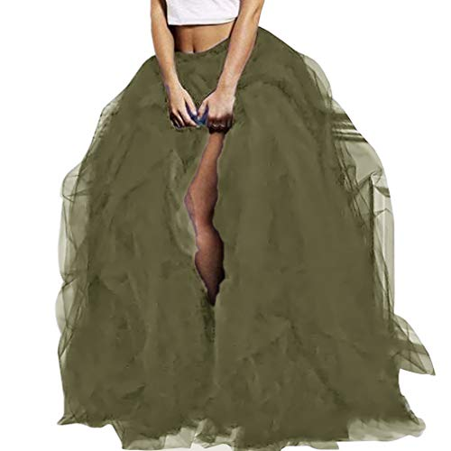 WDPL Women's Long Tutu Floor Length Skirt Maxi Special Occasion Night Out Ruffles Tulle Skirt (X-Small, Army Green)