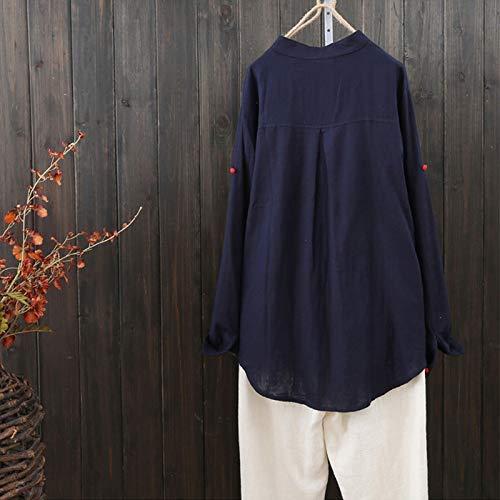 Bouton de ras Bleu oversize couleur Medium cou Sweat Zhrui Col à Taille marine shirts femme Pull Pull Café élégant Lin Manches longues du Couleur capuche vYxwzvq