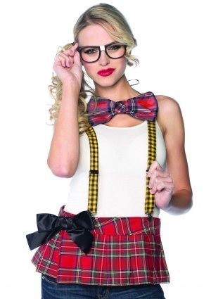 Leg Avenue 3 Piece Nerd Costume Kit Includes Suspenders Bow Tie and Glasses, Multicolor, One - Nerd Costumes Womens