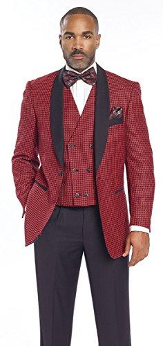 EJ Samuel Red Black Shawl Lapel Houndstooth 3 Piece Checked Mens Suit M2699 (40R) by E. J. Samuel