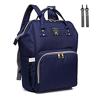 Diaper Bag Backpack Water-resistant, Nanrui 25L Roomy Nappy Bag for Baby Boy and Girl Men Backpack Travel Back Pack with 2 Stroller Straps- Navy Blue