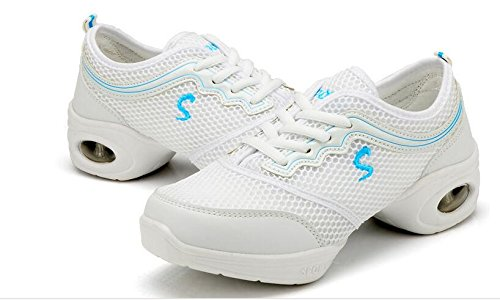 Laruise Women's Mesh Fabric Jazz Shoes WhiteBlue zvdEXuh5Us