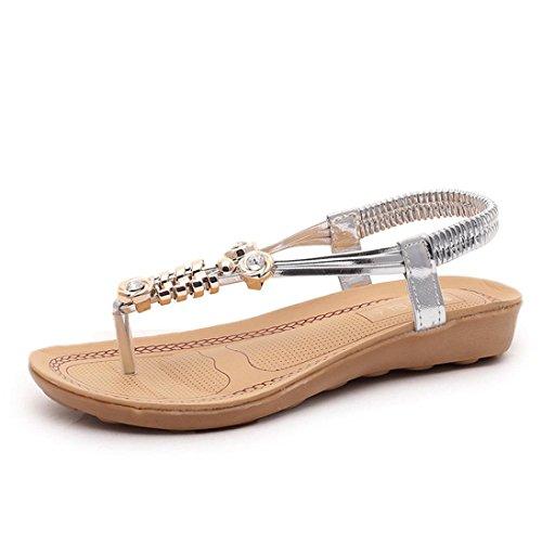 Transer Damen Flach Sandalen, Clip Toe Strass T-Bügel Bohemia Freizeit Lady Outdoor Schuhe Silber
