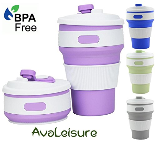 AVALEISURE Collapsible Coffee Mug - a Foldable 12oz Drinking Cup with Lid for Water, Coffee, Tea, Soft Drinks, Ideal for Camping, Travel, Hiking, Picnic, Lunch (Lilac)