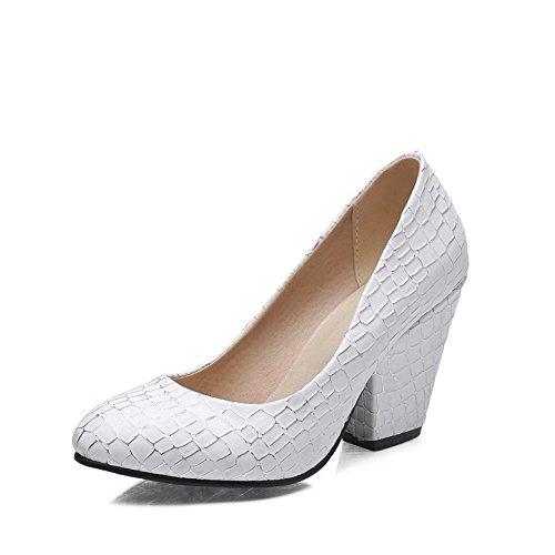 Balamasa Dames Pull-on Geruite Pumps Met Hoge Hakken Krokodil Pumps-schoenen Wit