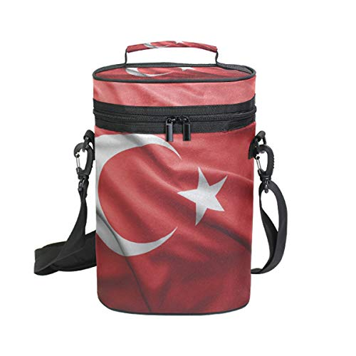 Turkey Flag Insulated Wine Tote Carrier - 2 Bottle Travel Padded Wine Cooler Bag with Handle and Adjustable Shoulder Strap