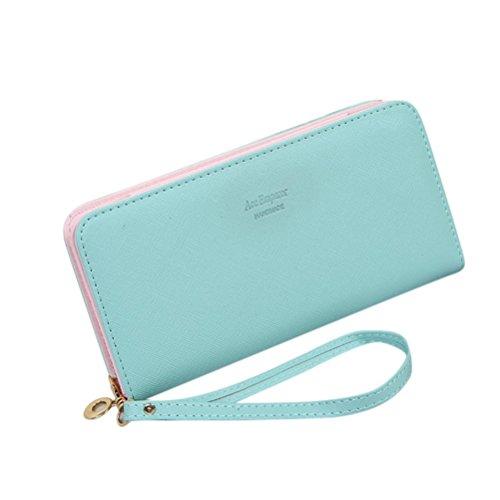 Women Bowknot Long Purse Button Wallet Clutch Hand Bag (Green) - 3