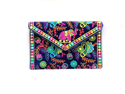 Lightahead Women Velvet Clutch Purse Bag Tribal Art Designs Vibrant Color's Evening Daily Use
