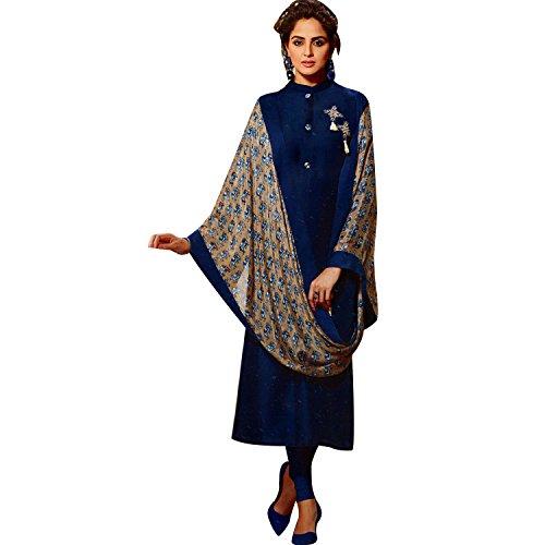 fill Silk Long Tunic Top Plain Embroidered 3/4 Sleeves Stylish Scarf/Shawl Dupatta Kurti Kurta ()