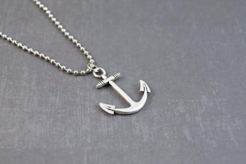 /Collier Homme/ Argent Ancre/ /Collier Ancre Bijoux/ /Bijoux marin/ /Collier nautique/ /Pendentif Ancre Marine Cha/îne 61/cm