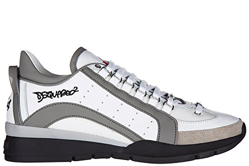 Dsquared2 Scarpe Da Uomo Sneakers Da Ginnastica In Pelle 551 Bianche
