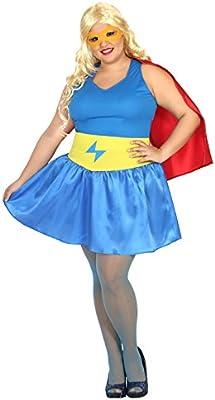 Atosa-31487 Disfraz mujer super héroe comic, color celeste, XXL ...