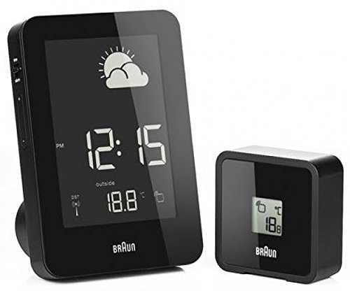 Digital Weather Station Alarm Clock Color: Black