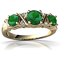 14kt Gold Lab Emerald and Diamond 4mm Round Hugs and Kisses Ring