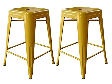 Amazon.com: AmeriHome 2-Piece Metal Bar Stool, Gold, 24-Inch by AmeriHome: Wall Art