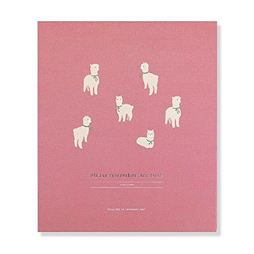 Cute illustrations Hardcover 3-Ring Binding Album, Self Adhesive Photo Album Book, Scrapbooking Scrapbook Magnetic Album, 30 Pages Holds 3X5, 4X6, 5X7, 6X8 Photos (Alpaca)