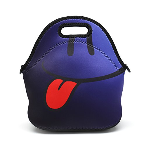 Boys Girls Kids Women Adults Insulated School Travel Outdoor Thermal Waterproof Carrying Lunch Tote Bag Cooler Box Neoprene Lunchbox Container Case (Blue Smiley - Box Face Lunch