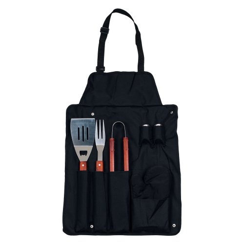 Chefs Kitchen 82-4308B Buddy 7-Piece BBQ Apron and Utensil Set ()