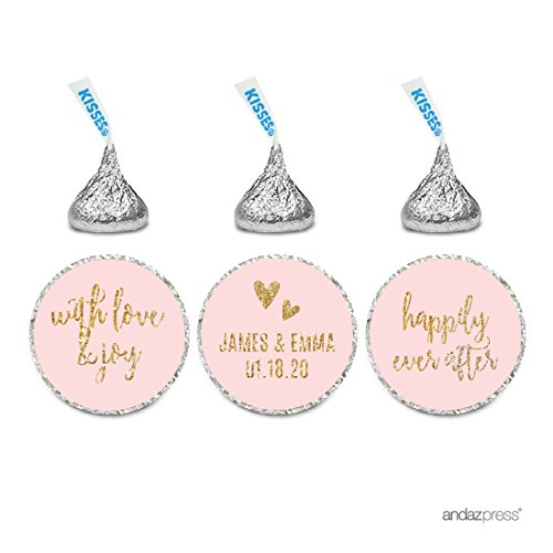 Andaz Press Blush Pink Gold Glitter Print Wedding Collection, Personalized Chocolate Drop Label Stickers Trio, 216-Pack, Custom Name, Fits Hershey's Kisses Party -