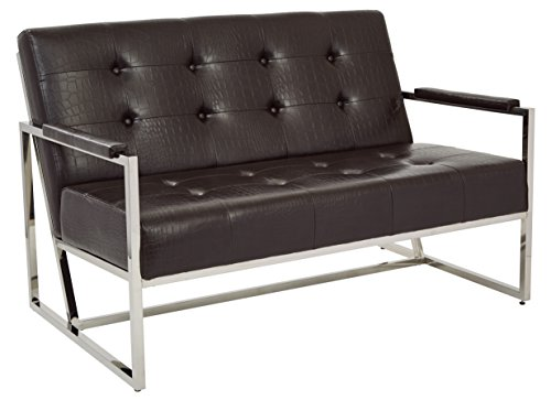 Work Smart/Ave Six Nathan Loveseat, Espresso Croc