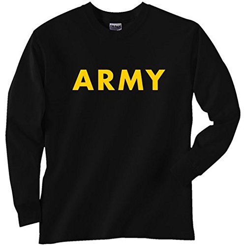 Black ARMY Long Sleeve T-shirt with Gold ink Military training tee