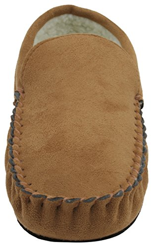 Slumberzzz Mens Faux Suede Borg Lined Moccasin Slipper Light Brown DXXvCj