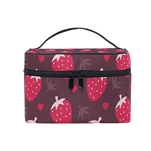 Strawberries Chocolate Cosmetic Bags Organizer- Travel Makeup Pouch Ladies Toiletry Train Case for Women Girls, CoTime Black Zipper and Flat Bottom