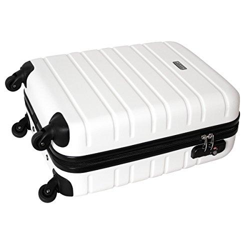 Karry Handgepäck Bordgepäck Hartschalen Koffer für Kurzreisen Urlaub Reisen Businesskoffer Trolley Case TSA Schloss 30 Liter Weiß 815