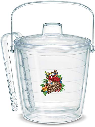 Tervis 1000037 Margaritaville-It's 5 O'Clock Somewhere-Red Parrot Insulated Tongs with Emblem Lid-Boxed, 87oz Ice Bucket, Clear