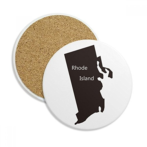 Rhode Island USA Map Silhouette Stone Drink Ceramics Coasters for Mug Cup Gift 2pcs ()