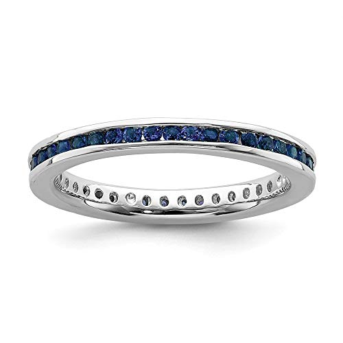 925 Sterling Silver Created Sapphire Band Ring Size 6.00 Stone Stackable Gemstone Birthstone September Fine Jewelry For Women Valentines Day Gifts For Her