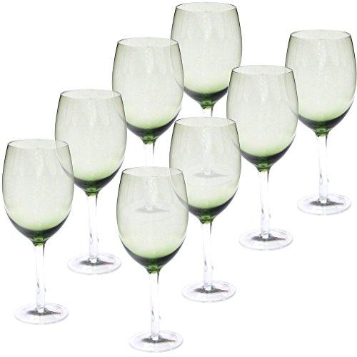 Certified International White Wine Stemware Glass (Set of 8), 20 oz, Olive Green ()