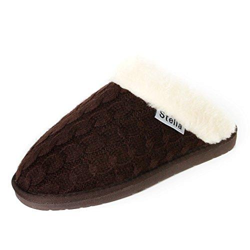 Stellaire Dames Gebreide Pelsnit Winter Warm Binnen Comfy Slip Op Mule Klomp Slippers Bruin