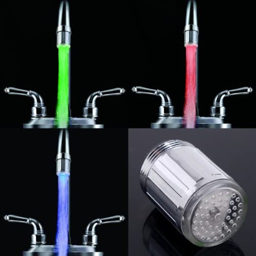 7 Couleurs Changeantes Lueur LED de Jjet deau de Robinet LED Robinet Lumi/ère pour Cuisine Salle de Bain Jardin Ritioner Robinet LED Glow