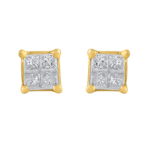 10k Yellow Gold Princess Diamond Square Cluster Stud Earrings (1/10 cttw, HI-Color, I2-I3 Clarity)